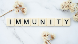 Immunity spelled with Scrabble pieces